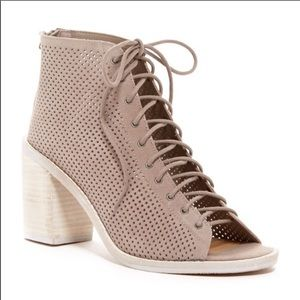 Dolce Vita Lace Up Booties Tan Perforated